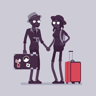 Touristen im reiseoutfit mit gepäck und koffern