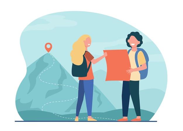 Touristen mann und frau, die in den bergen mit karte und rucksäcken wandern