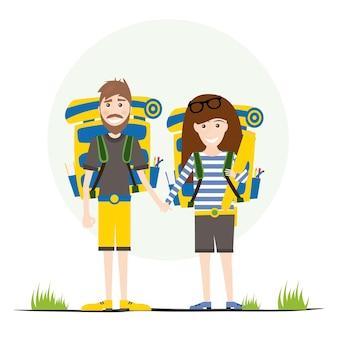 Touristen mit rucksäcken, isolated on white. vektor-illustration.