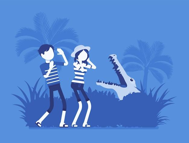 Touristen verloren in wilder natur. menschen in extremen ferien, die in den tropen keinen weg finden, angst oder angst vor krokodilen in natürlicher umgebung haben. illustration, gesichtslose charaktere