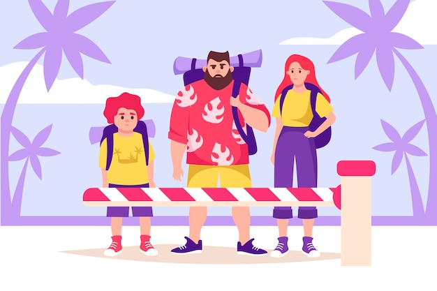 Touristenfamilie hinter der schranke