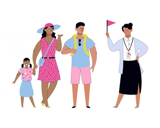 Touristenfamilie mit reiseleiter in den sommerferien
