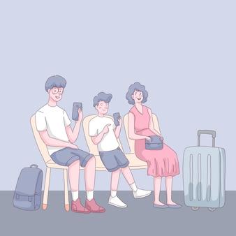 Touristenfamilien, die im wartezimmer am flughafenterminal sitzen, genießen vater und sohn mit dem handy. illustration im flachen stil