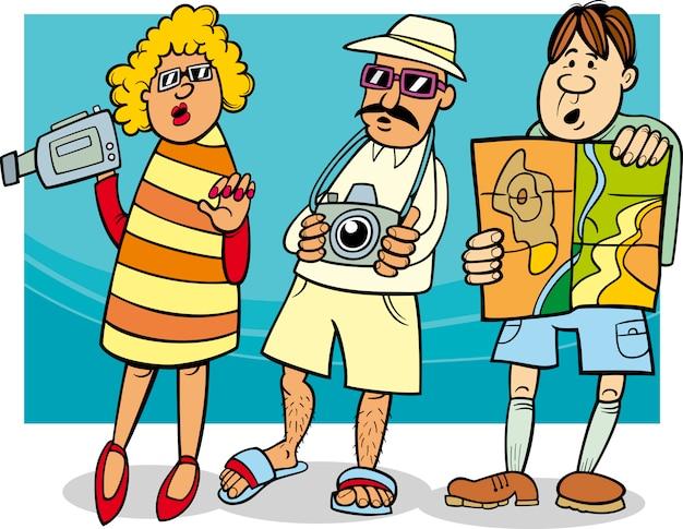Touristengruppe cartoon illustration