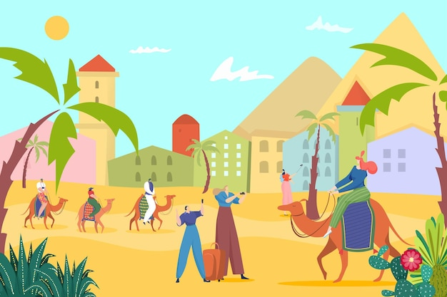 Touristenleute an der ägyptischen sand-sommerlandschaftsillustration