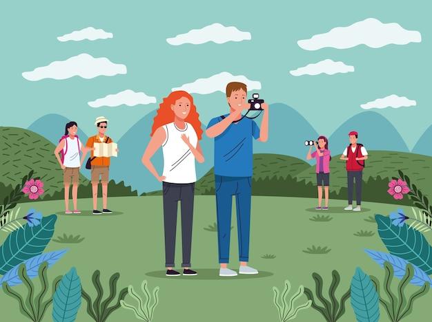 Touristenleute mit kamerafotografie auf dem vektorillustrationsdesign der landschaftszeichen