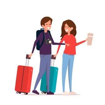 Touristenpaar mit taschen, ticets und kamera auf reisen. urlauber.