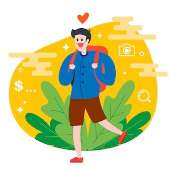 Touristenreisender geht in natur mit einem rucksack spazieren. flache charakter vektor-illustration.
