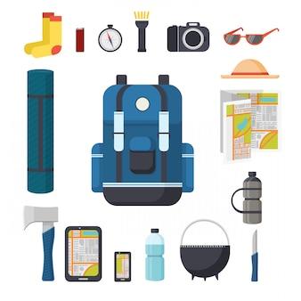 Touristenrucksack. toller marschrucksack mit einer reihe von touristischen dingen für die reise. dinge, die man mit einem rucksack reisen kann - pad, axt, gadgets, kompass, taschenlampe, kamera.