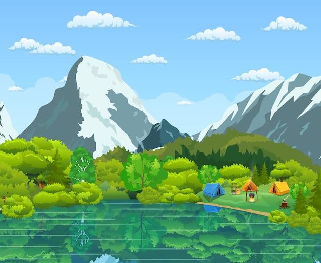 Touristenzelt und grüne wiese, berge auf einem bewölkten himmel. sommercamping. natürliche vektorlandschaft. vektorillustration im flachen design Premium Vektoren