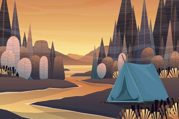 Touristenzelte, die im waldgebiet und im sonnenaufgang am morgen kampieren, landschaftlicher naturhintergrund mit see und hügeln, horizontales sommerlagerkonzept