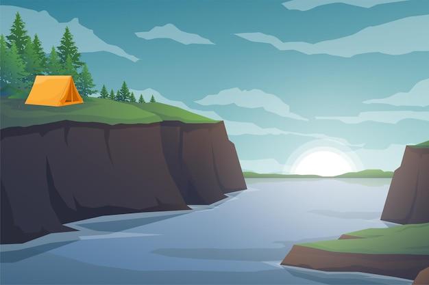 Touristenzelte, die im waldgebiet und im sonnenaufgang am morgen kampieren, landschaftlicher naturhintergrund mit wasserbergen und -hügeln, horizontales sommerlagerkonzept