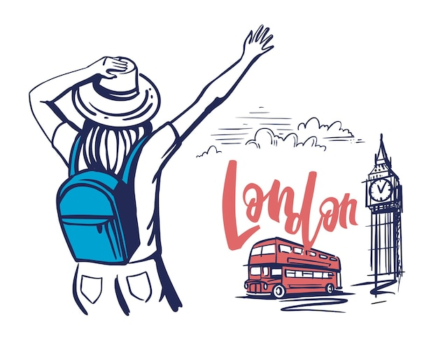 Touristin ist in london angekommen.