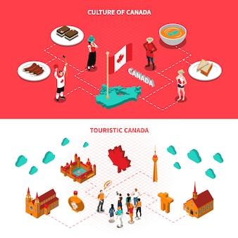 Touristische anziehungskräfte kanadas horizontale isometrische fahnen