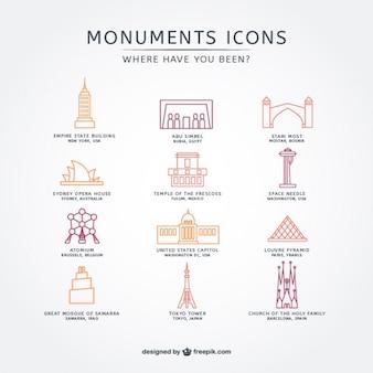 Touristische attraktion icon pack