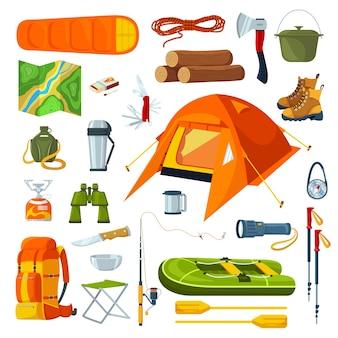 Touristische campingausrüstung lokalisiert auf weißem satz von abbildungen