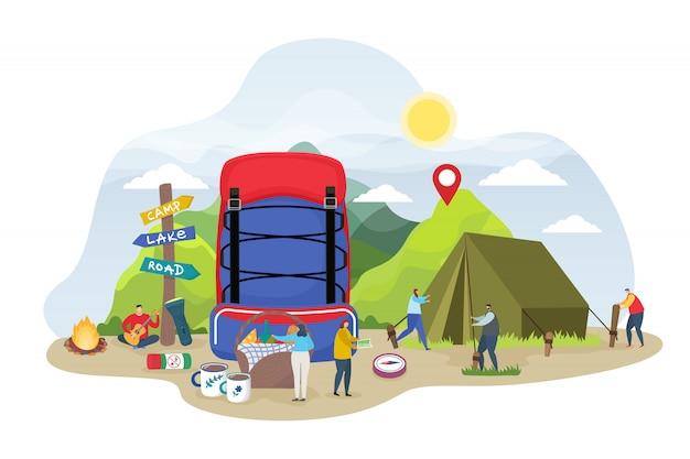 Touristische campingillustration, kleine leute der karikatur, die campingplatzzelt im sommertag vorbereiten, naturökotour des rucksacks auf weiß
