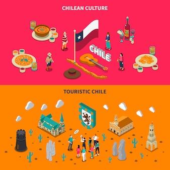 Touristische chile 2 isometrische horizontale banner