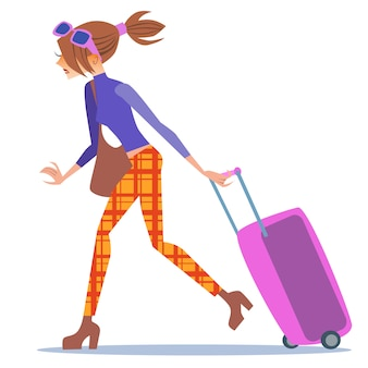 Touristische frau, die mit einer kofferreise geht
