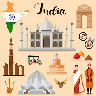 Touristische indien reise set sammlung