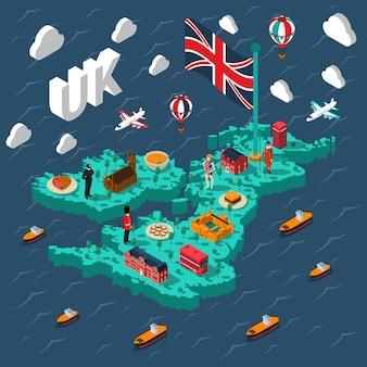 Touristische isometrische karte großbritanniens