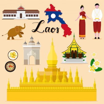 Touristische laos travel set-sammlung