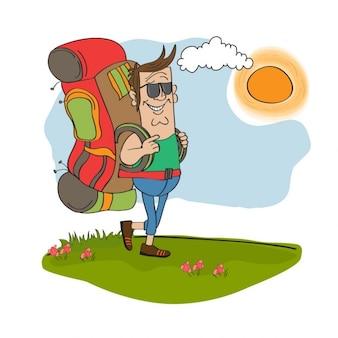 Touristische mann mit rucksack unterwegs