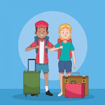 Touristische paare mit koffercharakteren