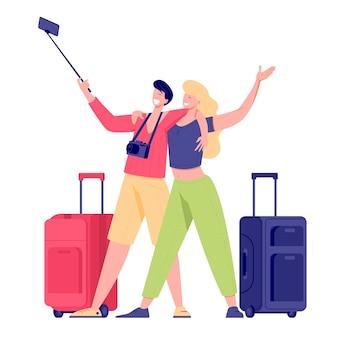 Touristische paarfamilie, die mit taschen, koffern und kamera reist. illustration des sommertouristencharakters frau und mann machen selfie.