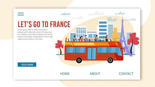 Touristische tour nach frankreich flat webpage