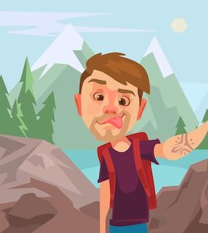 Touristischer charakter des mannes, der selfie foto am intelligenten telefon macht. flache karikaturillustration des vektors
