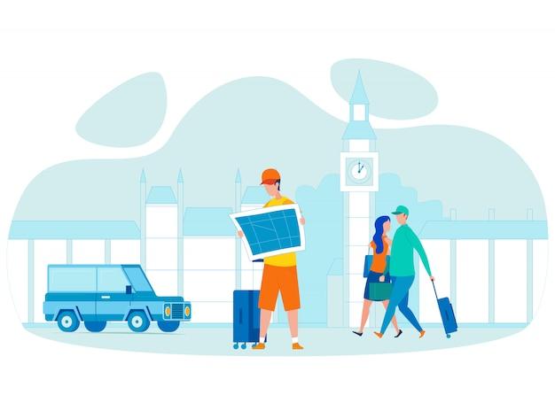 Touristischer haltener stadtplan-flacher charakter