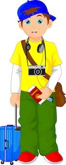 Touristischer junge cartoon