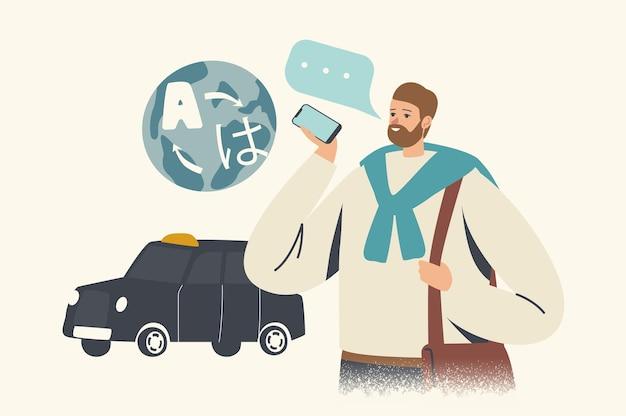 Touristischer männlicher charakterstand am taxi-auto verwenden sie die mobile sprachübersetzungs-app für die sprachübersetzung