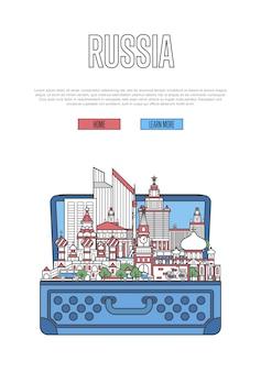 Touristisches russland-plakat mit offenem koffer