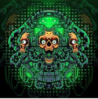 Toxic skull maskottchen esport logo design