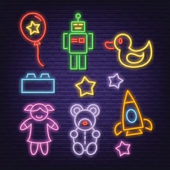 Toy neon icons set