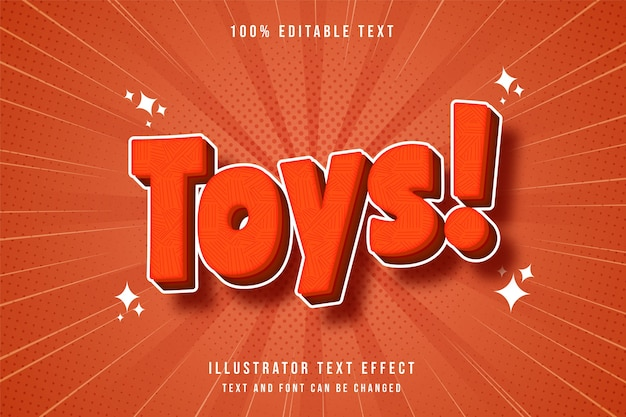 Toys3d bearbeitbarer texteffekt orange gradation rot moderner comic-stil