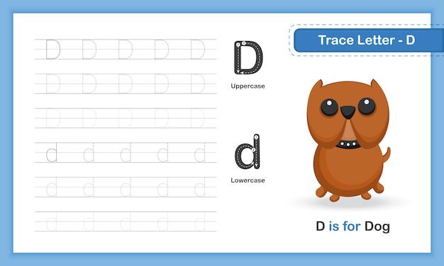 Trace letter-d: az animal, handschrift-übungsbuch