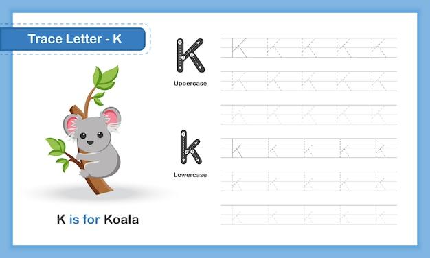 Trace letter-k: az animal, handschrift-übungsbuch