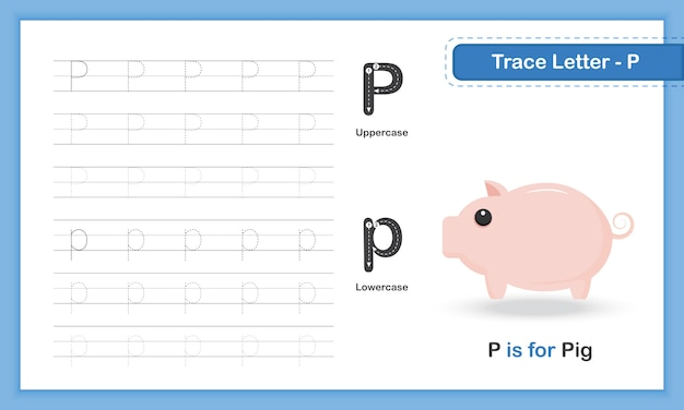 Trace letter-p: az animal, handschrift-übungsbuch
