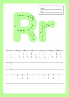 Trace letters arbeitsblatt a4 für kinder im vorschul- und schulalter.