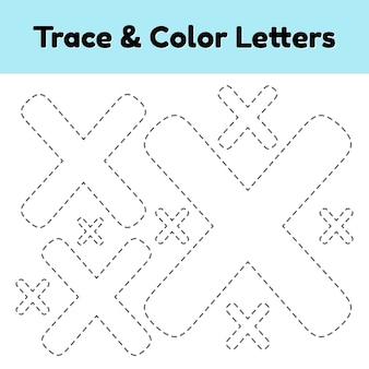 Trace line letter für kindergarten- und vorschulkinder. schreiben und färben sie x.