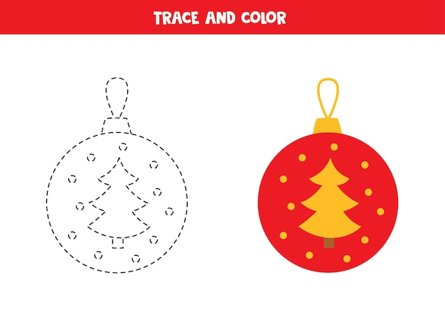 Trace und farbe cartoon weihnachtskugel. arbeitsblatt für kinder.