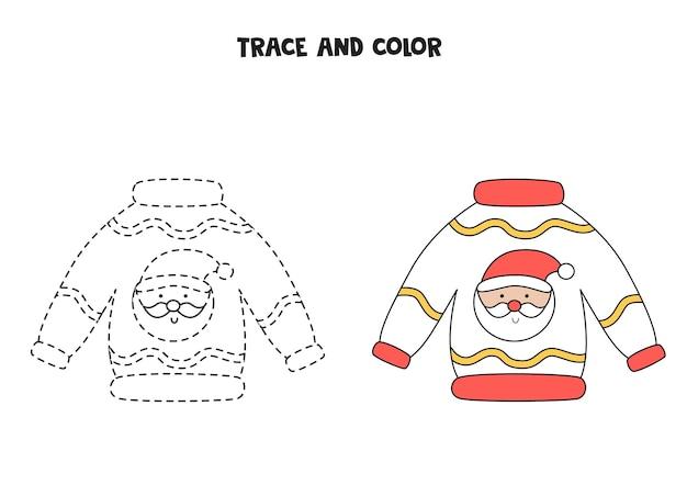 Trace und farbe cartoon weihnachtspullover. arbeitsblatt für kinder.