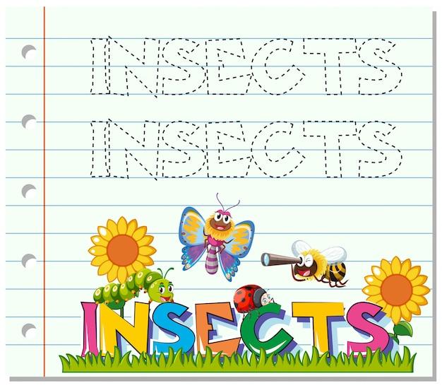 Tracing arbeitsblatt für wort insekten