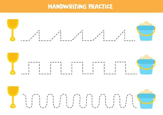 Tracing-linien für kinder mit cartoon-schaufel und eimer