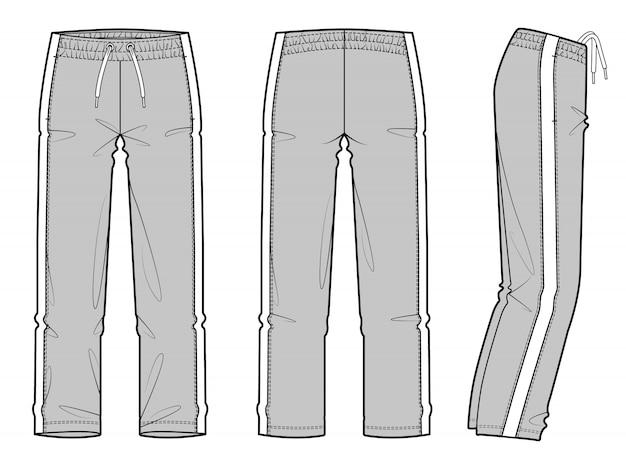 Track pants flache technische zeichnungsvektorschablone der mode