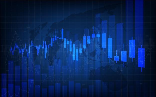 Trading hintergrund. mit der illustration eines kerzendiagramms, das auf einem dunklen hintergrund von links nach rechts nach oben zunimmt.