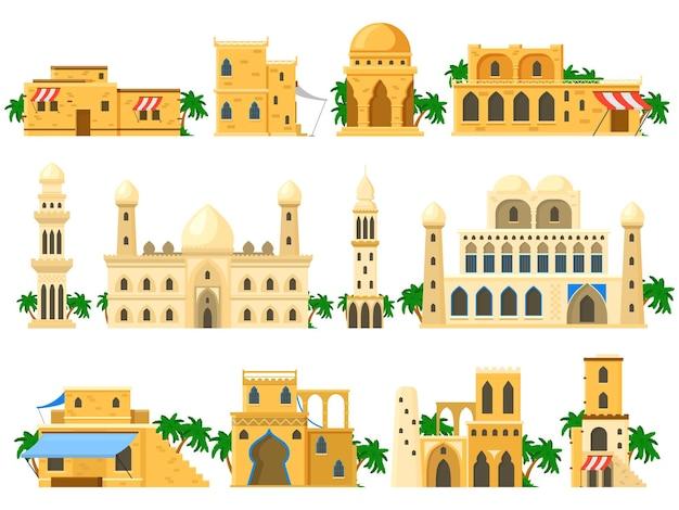 Traditionelle alte arabische architektur lehmziegelgebäude. türme, häuser, rotunde und schlossgebäude vector illustration set. arabische gebäudearchitektur alter, traditioneller baustein